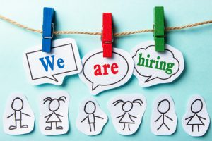 44378160 - we are hiring paper speech bubbles with some paper people